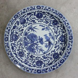 "RZBD05 15.7"" hand painted blue white chrysanthemum and bird porcelain plate"