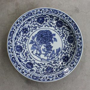 "RZBD04 11.8"" hand painted blue white chrysanthemum design porcelain plate"