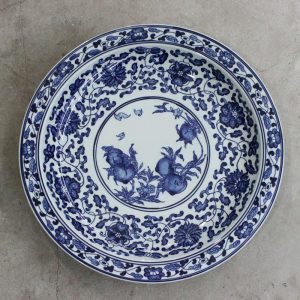 RZBD03 Blue and white peach design hand painted porcelain plate