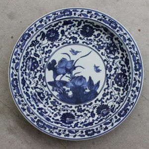 RZBD02 Blue and white porcelain hand painted waterlily plate