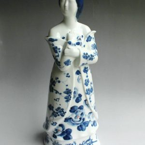 "RYBZ164 17"" hand painted blue white porcelain girl figurine"