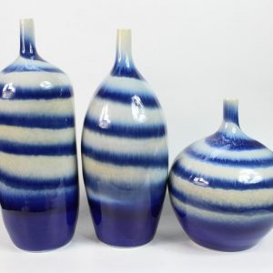 RYIE11 Set of 3 ceramic blue glazed vases