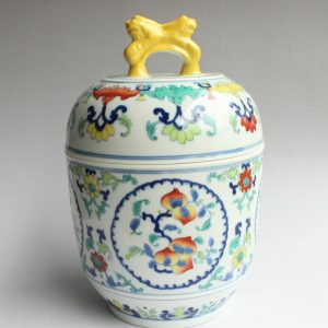 RYJH06 Jingdezhen doucai HAND painted peach Porcelain Tea Jar