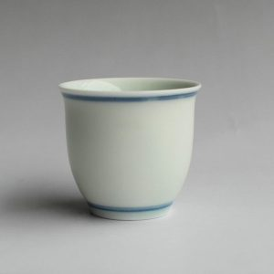 Jingdezhen Porcelain Tea Cup white with blue ring