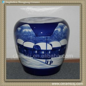 RYLX10 Ceramic Stool, High temperature fired hand painted snow scenery