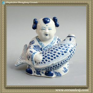 RYPT06 11inch Blue Porcelain boy with fish High temperature fired hand painted