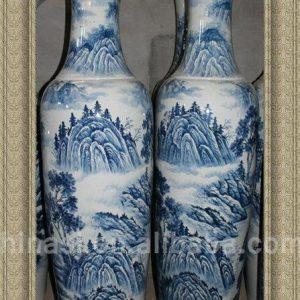 RYXJ01 78 inch Blue white landscape tall floor vases