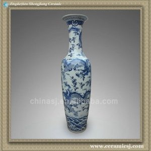"RYXJ03 74"" Blue white dragon big vases"