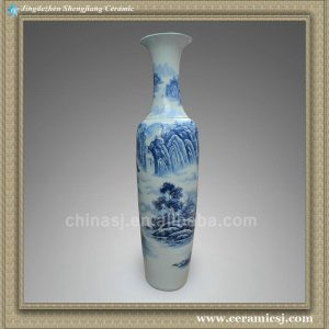 RYXJ05 78 inch Blue white floor vases