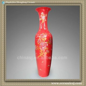 RYXJ09 71 inch Chinese Red Porcelain big floor vase