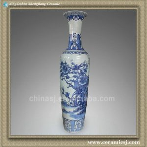 RYXJ10 77.5 inch Chinese blue white floral large floor vases