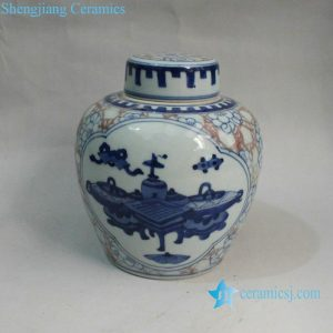 RYXN09 6.6 inch Jdz Eight Treasure Medallion Ceramic Wholesale Lidded Jar