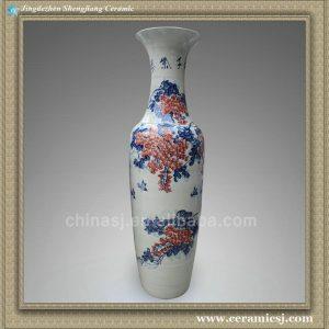 RYXT03 71 inch Floral design ceramic floor vases
