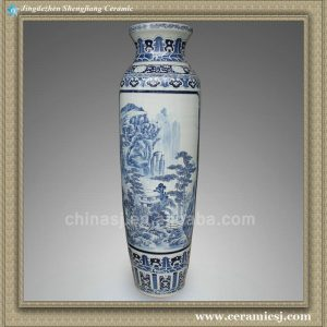 RYXT05 66.5 inch Chinese painted landscape porcelain floor tall vases