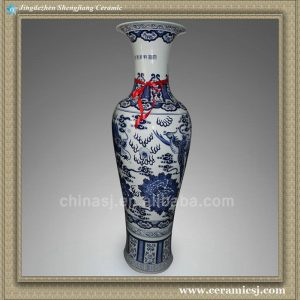 RYXU03 58.5 inch Chinese blue white painted dragon and phoenix floor vases
