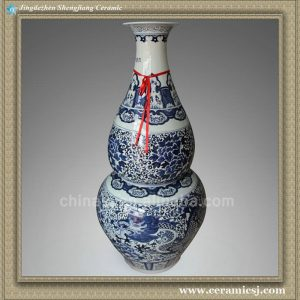 RYXU04 48.5 inch Chinese blue white painted dragon and floral floor vases