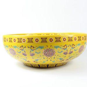 "RYXW325 16"" Jingdezhen ceramic art washbasin yellow glazed floral design"