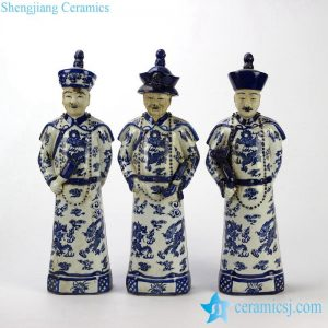 RYXZ04 RYXZ04-OLD 17 inch Set of 3 Chinese ceramic blue white standing emperor