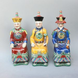 RYXZ05 12.5 inch Set of 3 ceramic seated Chinese emperor