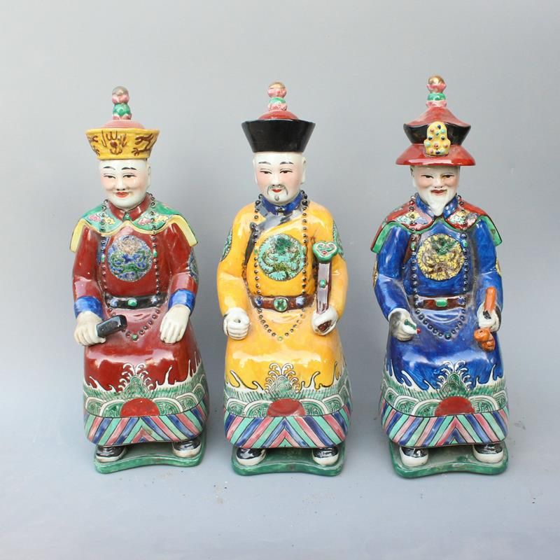 Ryxz05 12 5 Inch Set Of 3 Ceramic Seated Chinese Emperor