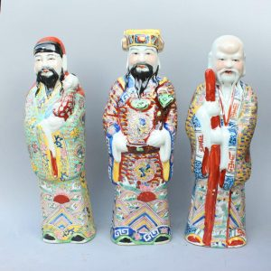 "RYXZ07 15.7"" Set of 3 ceramic famille rose Chinese Fukurokuju stars"