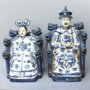 RYXZ08 15 inch Pair of ceramic blue white figurine Chinese King and Queen