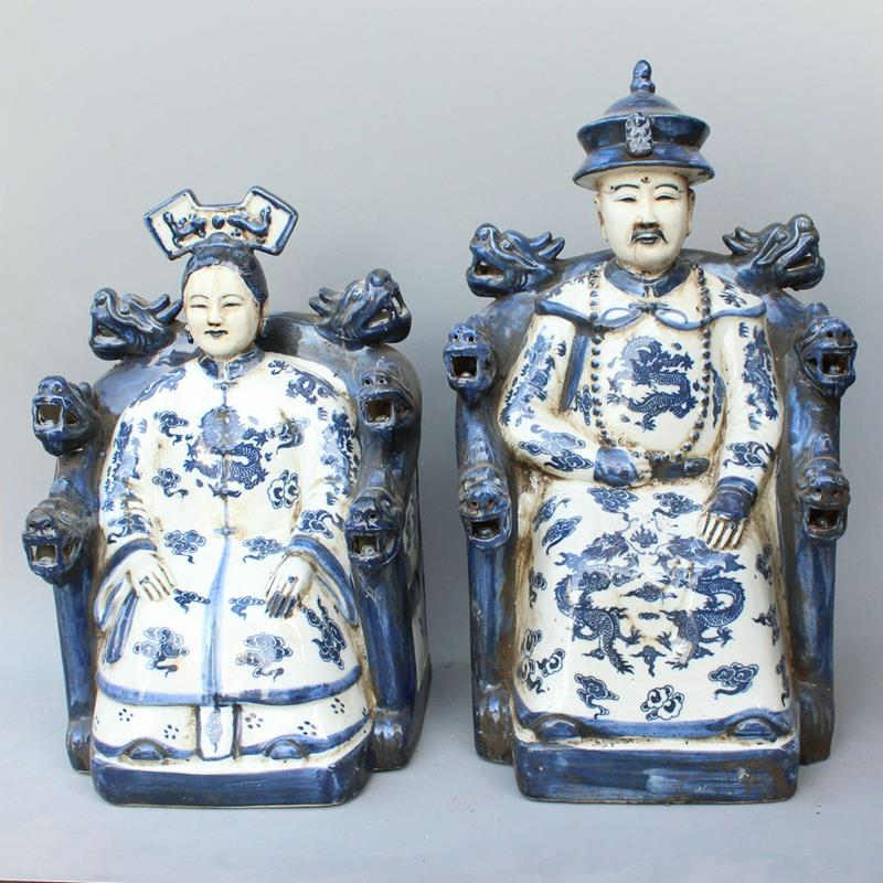 Ryxz08 15 Inch Pair Of Ceramic Blue White Figurine Chinese