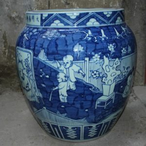 "RYYC01 17"" Ming dynasty reproduction blue white boy design ceramic vases"