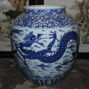 "RYYC02 18.5"" Ming dynasty reproduction blue white dragon design ceramic vases"