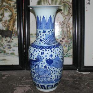 "RYYC03 25.5"" Ming dynasty reproduction blue white fish design porcelain vases"