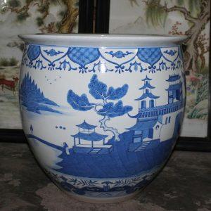 "RYYC04 19.7"" Ming dynasty reproduction blue white landscape design porcelain pots"