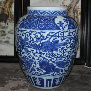 "RYYC05 18.8"" Ming dynasty reproduction blue white phoenix and lion design porcelain pots"