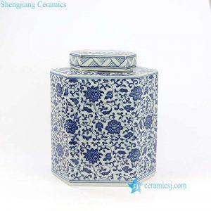 "RYYN02 12""Blue and white floral design hexagon Jar"