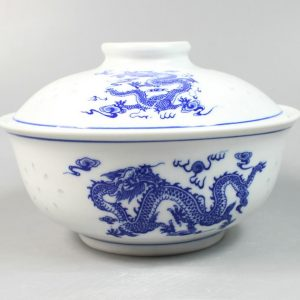 "7"" Ceramic Blue and white Bowl with cover"