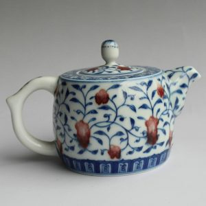 Jingdezhen blue white with copper red hand made Tea pots