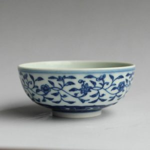 Jingdezhen hand made blue white floral design Tea cups