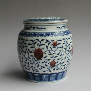 RYZ151 Jingdezhen hand made blue white with copper red Tea jars