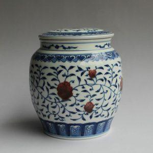 RYZ151 Jingdezhen hand made blue white with copper red Tea jars