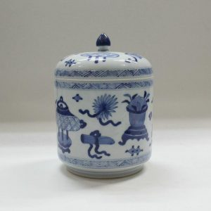 "RYZB02 5.5"" Blue white ceramic jars with cover"