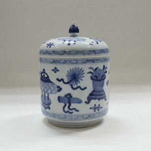 "RYZB02 5.5"" Blue white ceramic jars with cover"