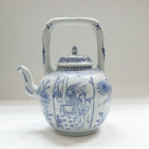 "RYZB04 9.8"" Blue white ceramic tea pot"