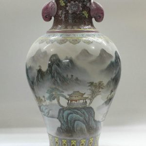 "RYZC01 21.6"" Hand painted Chinese Porcelain vases landscape design with handle"