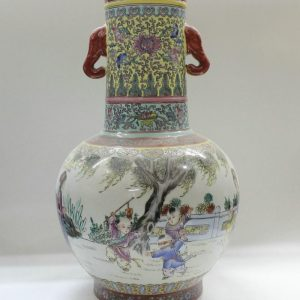 "RYZC02 20.8"" Hand painted Chinese Porcelain vases children design with handle"