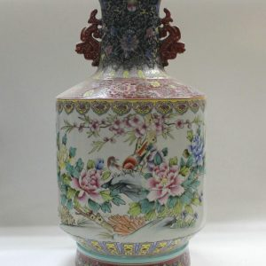 "RYZC03 20"" Hand painted Chinese Porcelain vases flower bird design with handle"