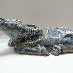"RYZD02 15"" Chinese Porcelain buffalo figurine"