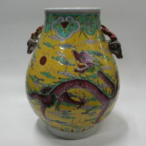 "RYZG01 13"" Ceramic hand painted dragon design with sheep handle antique porcelain vase"