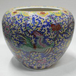 """RYZG06 11"""" JDZ hand painted floral phoenix antique oriental flower pots"""