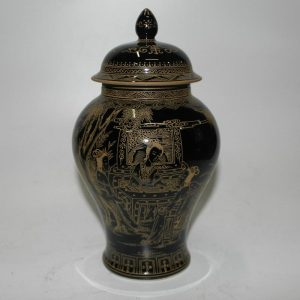"RYZH02 10"" Black glazed with gold painting Chinese Porcelain ginger jar"