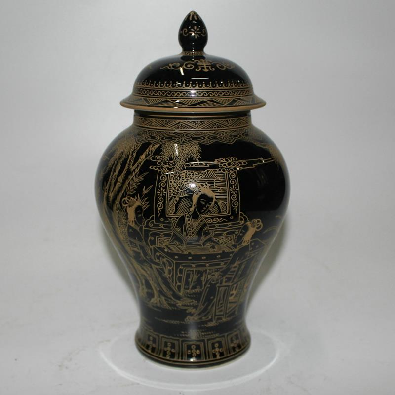 Ryzh02 10 Black Glazed With Gold Painting Chinese