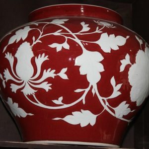 "RYZI02 11.5"" JDZ Red hand made floral antique porcelain pots"